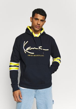 SIGNATURE BLOCK HOODIE - Mikina s kapucí - navy/yellow/white