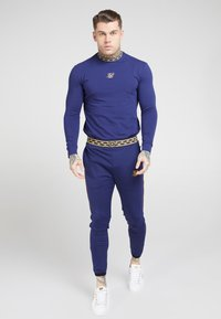 SIKSILK - SIKSILK LONG SLEEVE TAPE COLLAR GYM TEE - Long sleeved top - navy/gold - 0