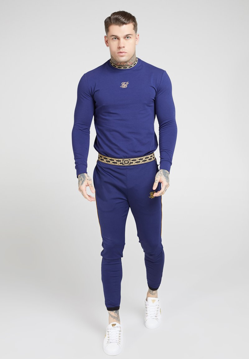 SIKSILK - SIKSILK LONG SLEEVE TAPE COLLAR GYM TEE - Long sleeved top - navy/gold