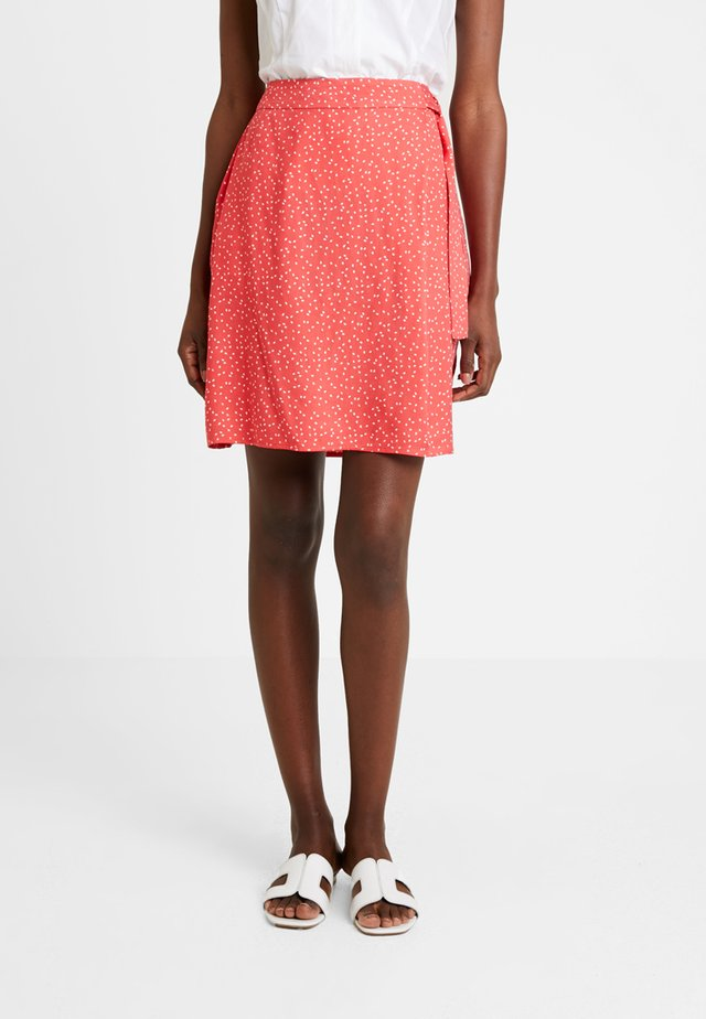 PRINTED SKIRT WITH KNOT - A-line skirt - flame