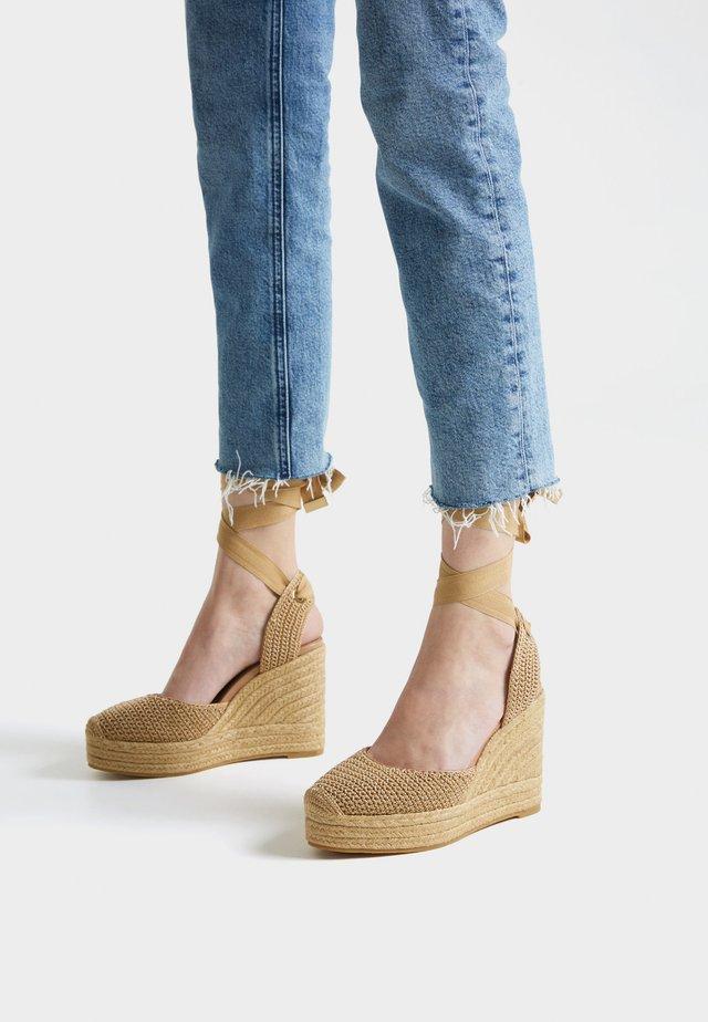 GEHÄKELTE - High heeled sandals - brown