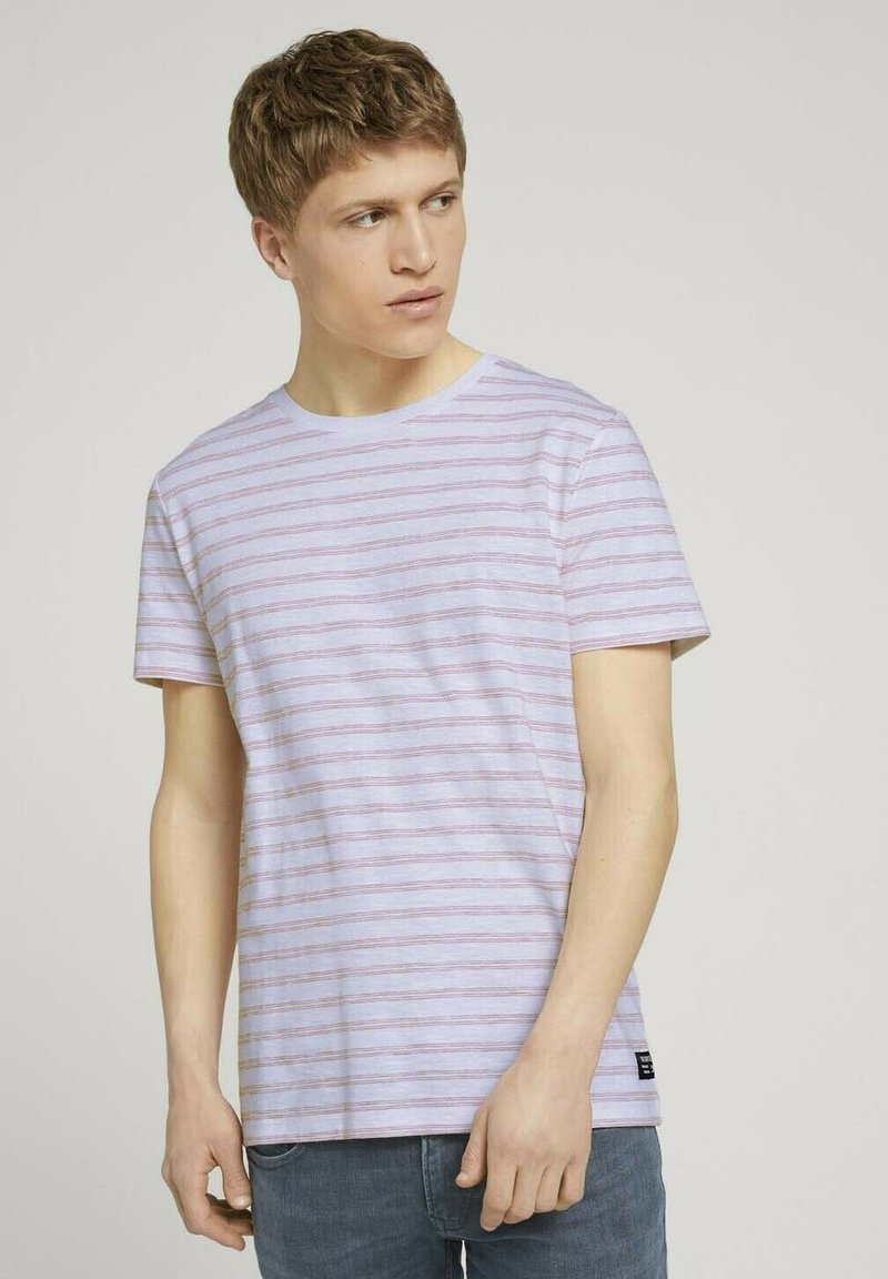 TOM TAILOR DENIM - MIT STREIFENMUSTER - T-shirt med print - white orange injected stripe