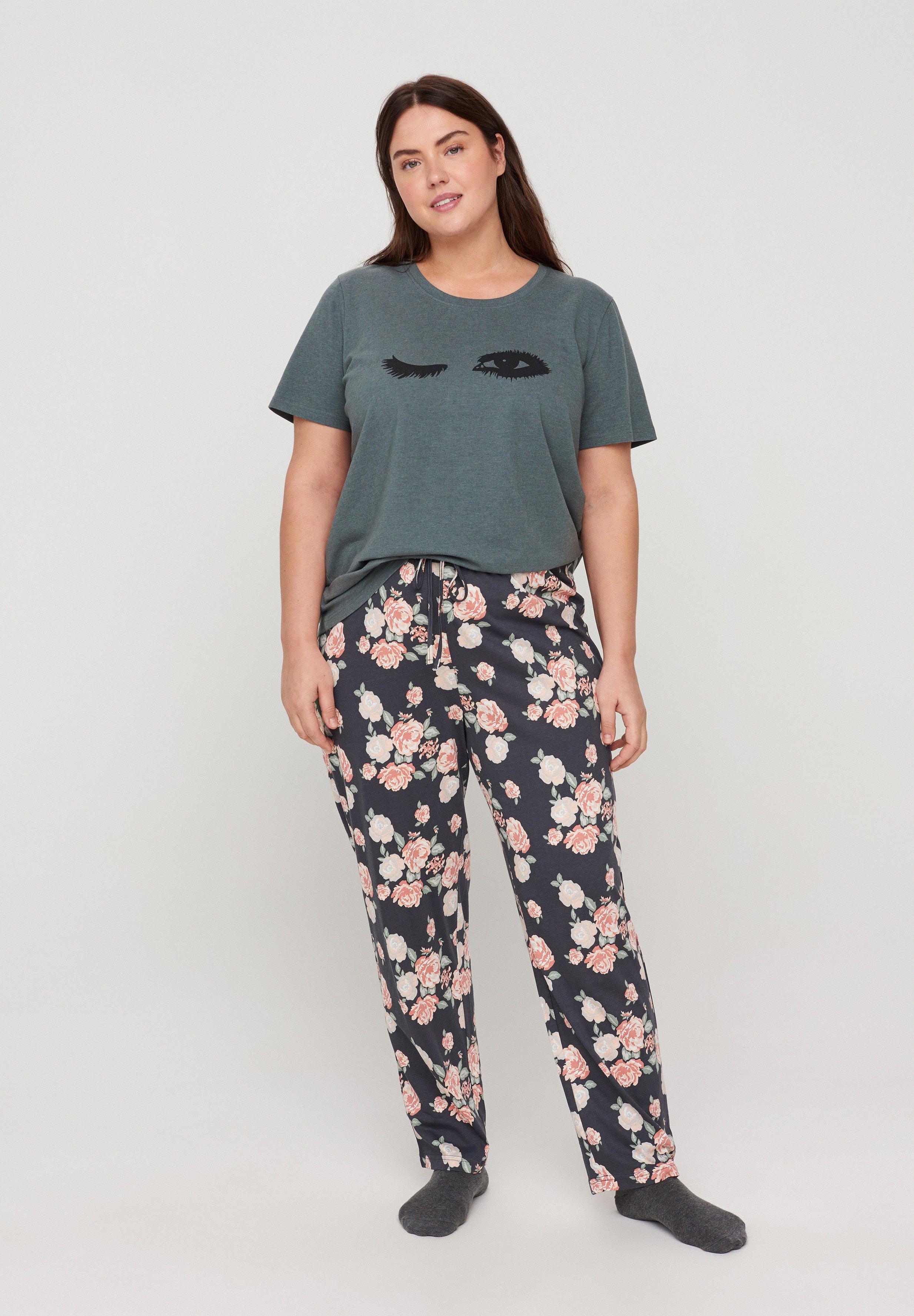 Donna Pantaloni del pigiama - blue flower