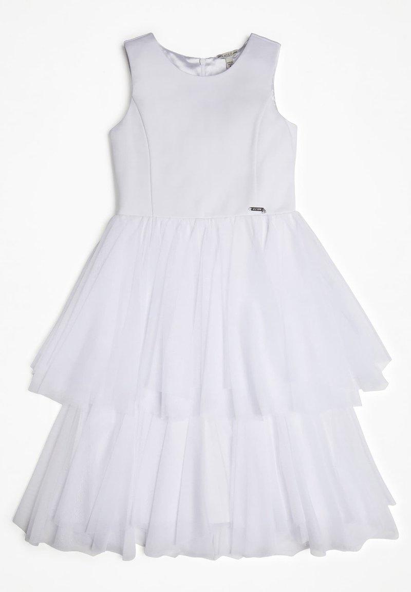 Guess - GUESS KLEID MIT EINSATZ AUS TÜLL - Korte jurk - weiß