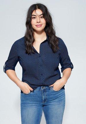 BEDRUCKTES BAUMWOLLHEMD - Button-down blouse - dunkles marineblau