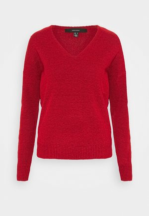 VMCARINA1 V NECK - Jumper - chinese red/black melange