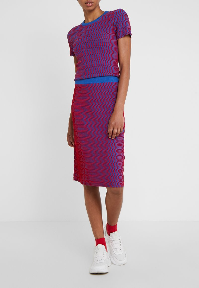 Opening Ceremony - SQUIGGLE SKIRT - A-line skirt - cobalt/cranberry