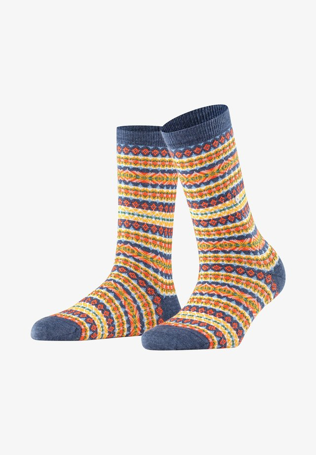 COUNTRY FAIR ISLE - Socks - dark blue mel