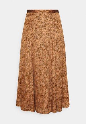 GODET PRINTED MIDI SKIRT - A-line skirt - camel