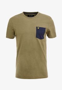 CONTRAST POCKET - T-shirt z nadrukiem - lichen green/ navy