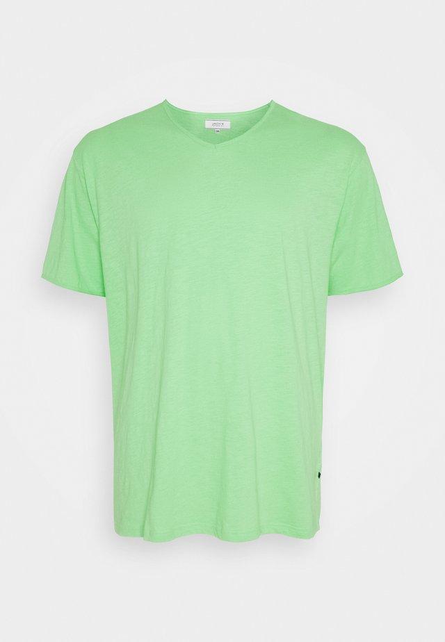 RAW VNECK SLUB TEE - T-shirt basique - green