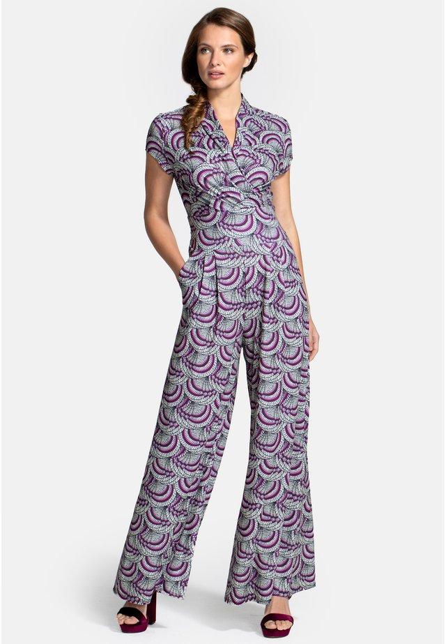 Jumpsuit - purple kimono print