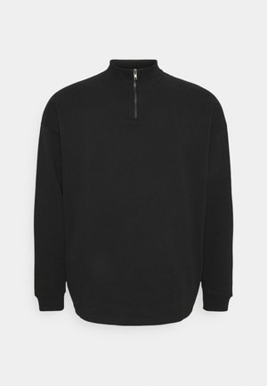 PLUS HALF ZIP FUNNEL NECK - Bluza rozpinana - black