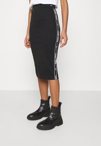 Tommy Jeans - BODYCON TAPE DETAIL SKIRT - Pencil skirt - black - 0