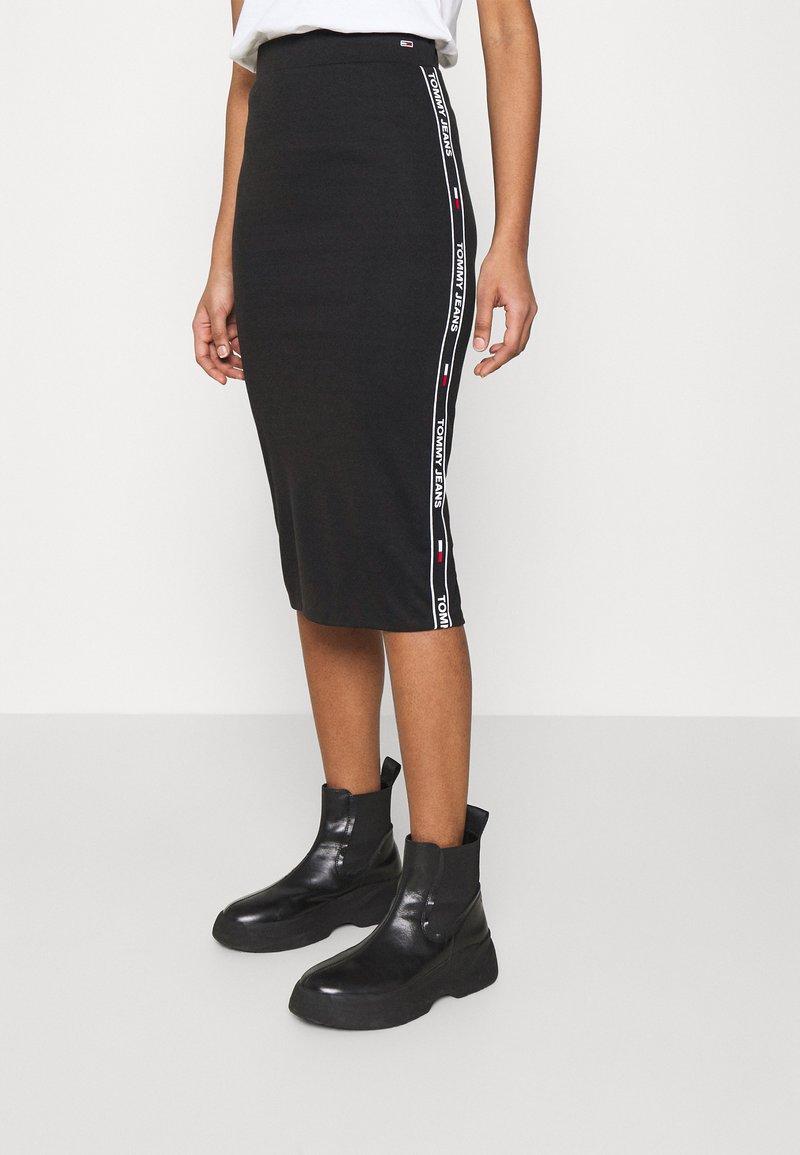 Tommy Jeans - BODYCON TAPE DETAIL SKIRT - Pencil skirt - black