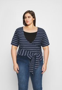 Tommy Jeans Curve - STRIPED WRAP - Print T-shirt - twilight navy/white - 0