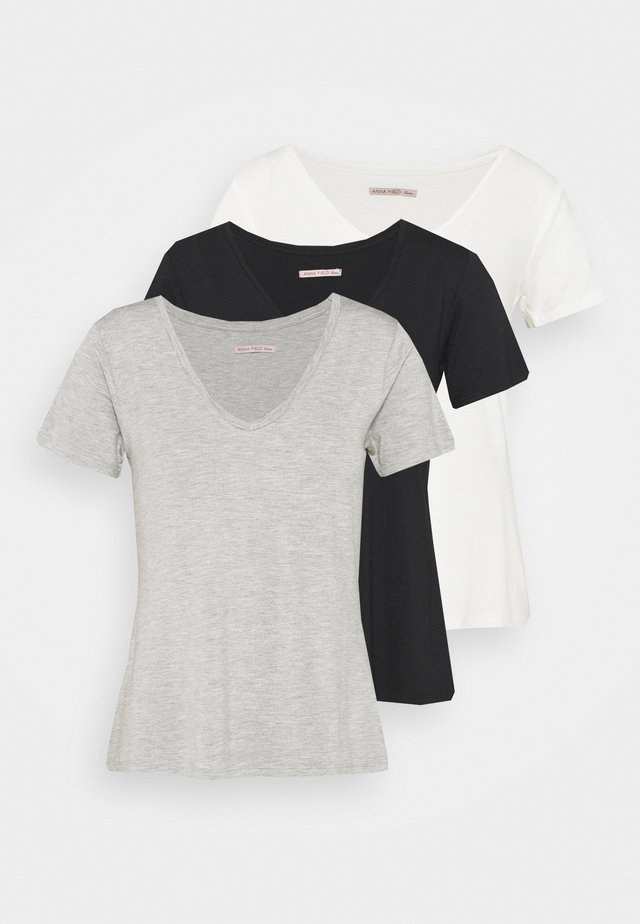3 PACK V NECK  - Basic T-shirt - black / white / light grey