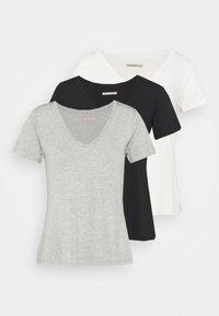 3 PACK V NECK  - Basic T-shirt - black / white / light grey
