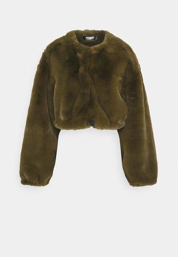 BALLOON SLEEVE BOMBER - Winter coat - khaki