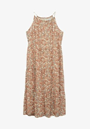 Fließendes mit blumenmuster - Maxi šaty - korallrot