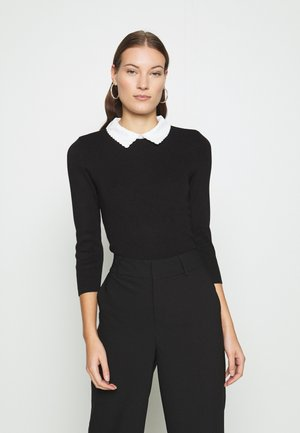 THREE QUARTER SLEEVE 2 IN 1 SCALLOP COLLAR JUMPER - Strikpullover /Striktrøjer - black