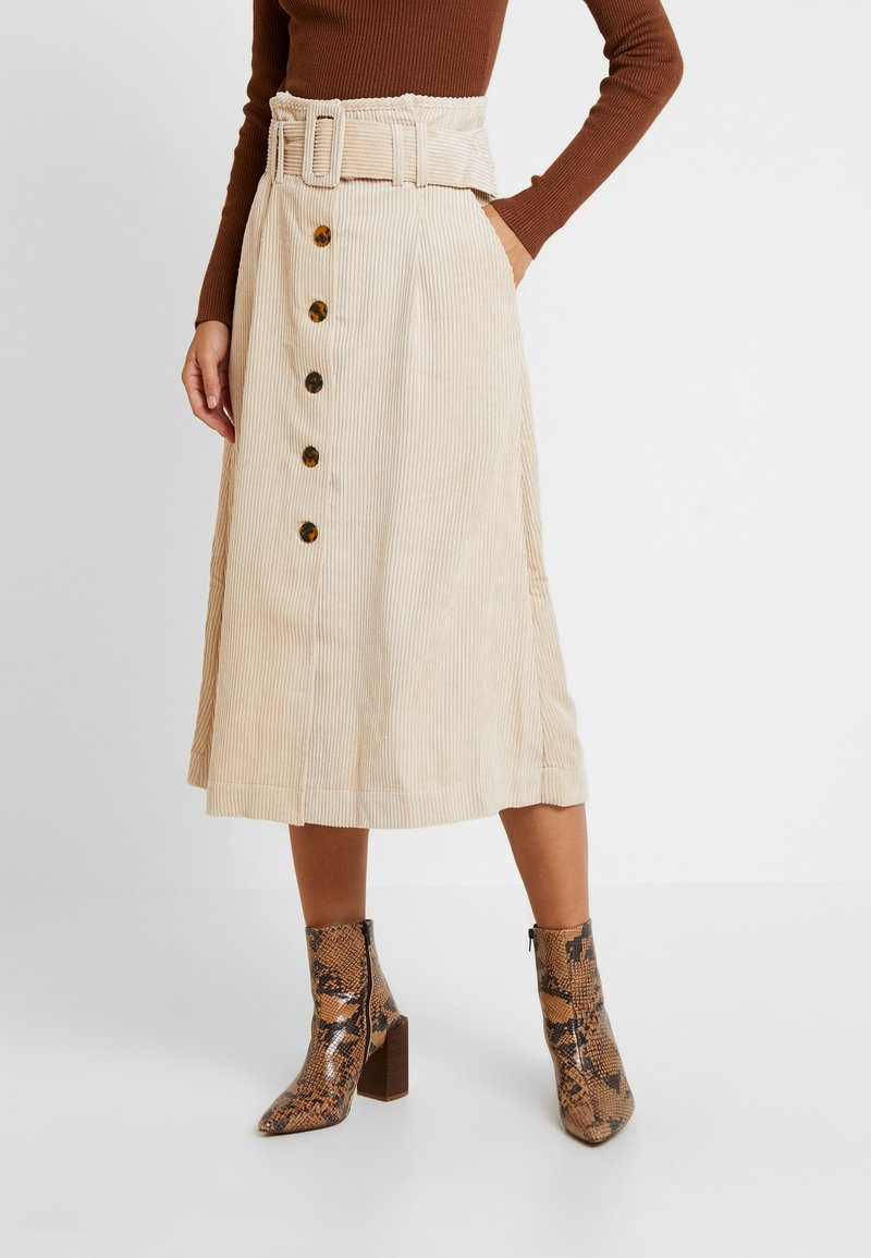 Topshop - BELTED MIDI - Maxi skirt - stone