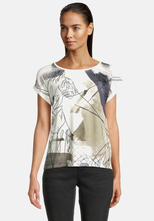 T-shirt print - weiß/dunkelblau