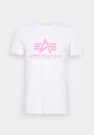BASIC - T-shirt print - white/neon pink