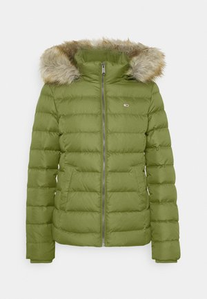 BASIC HOODED JACKET - Down jacket - olive tree