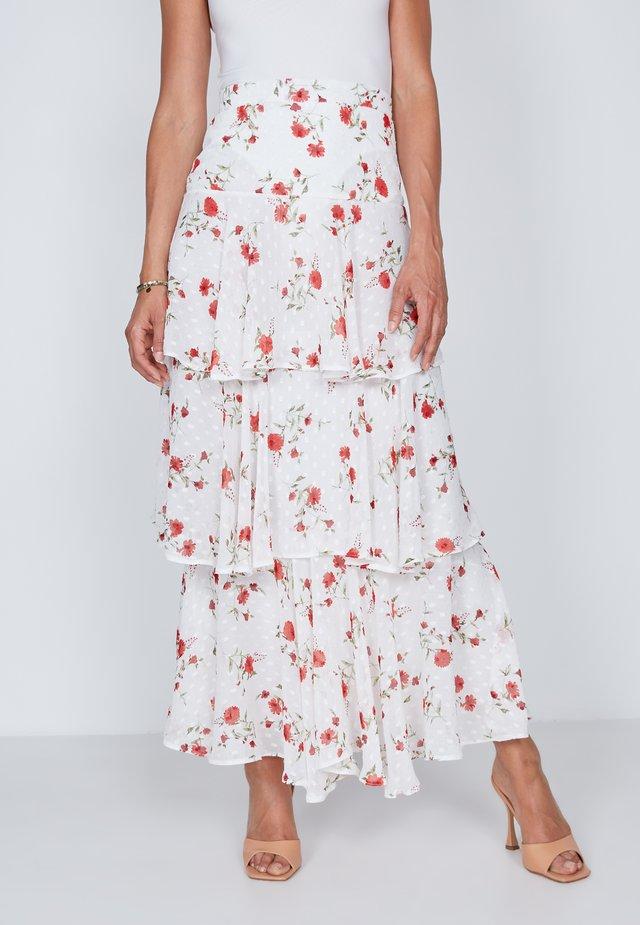 TIERED  - Maxi skirt - white