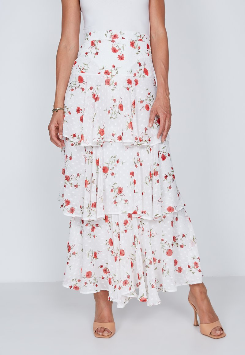 True Violet - TIERED  - Maxi skirt - white