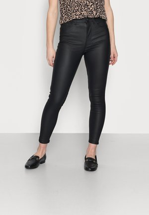 COATED LIFT AND SHAPE SKINNY - Trousers - black