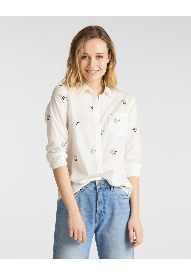 ONE POCKET - Button-down blouse - white canvas