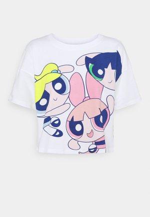 ONLPOWER PUFF CROPPED - Print T-shirt - white