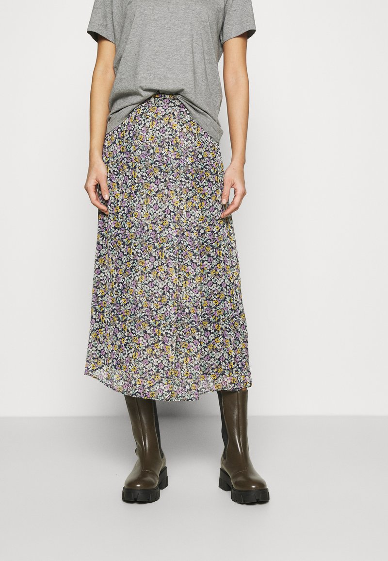 NAF NAF - BETTY - Maxi skirt - betty bleu marine