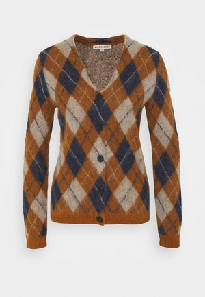 ARGYLE CARDIGAN - Neuletakki - tan/navy/off white