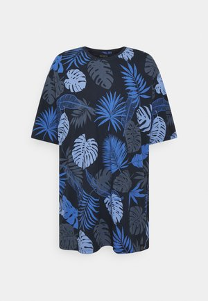 PALM O NECK TEE - Print T-shirt - navy