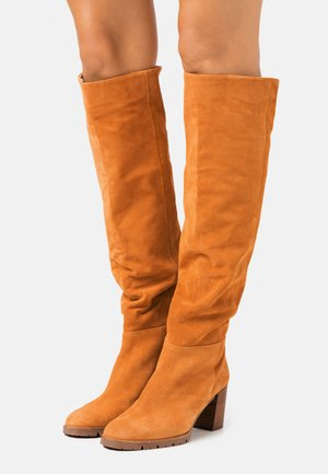 Over-the-knee boots - curry