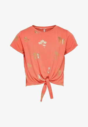 OBERTEIL KNOTENDETAIL - T-Shirt print - living coral