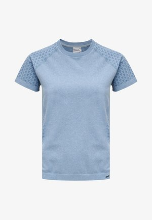 HMLCI SEAMLESS  - Print T-shirt - faded denim melange