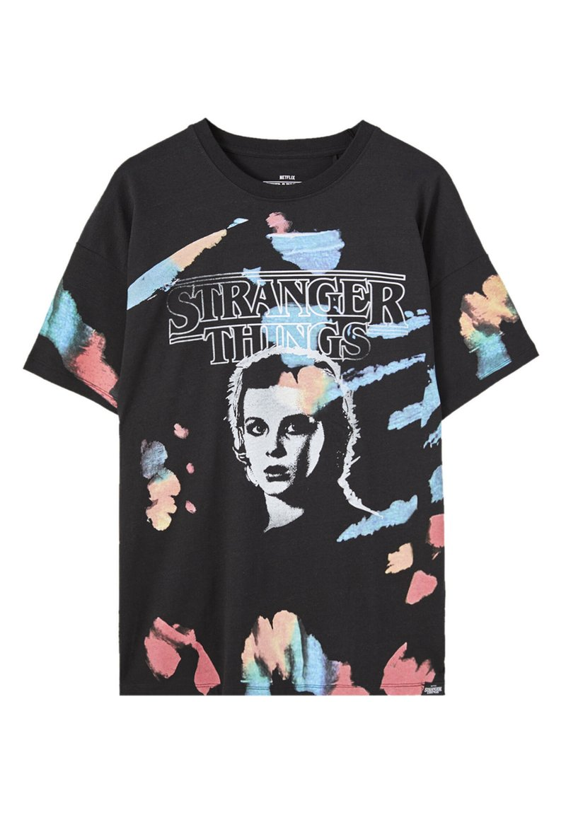 PULL&BEAR - STRANGER THINGS - Print T-shirt - black
