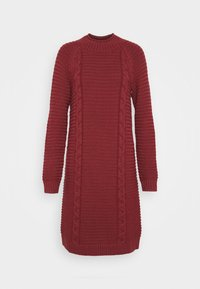 FUNNEL NECK  CABLE - Jumper dress - mulled cranberry