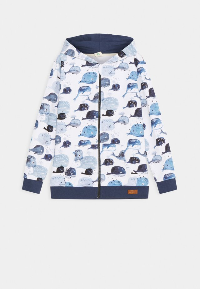 ZIP THROUGH JACKET BABY WHALES UNISEX - Felpa aperta - light blue