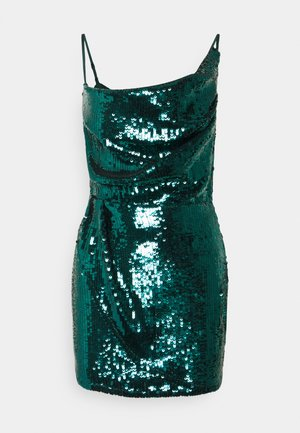 COWL NECK MINI DRESS - Juhlamekko - teal