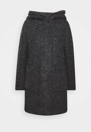 BOUCLE COAT WITH HOOD - Klassischer Mantel - light tarmac grey melange