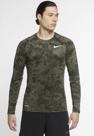 Sports shirt - medium olive/white