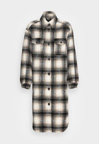 ONLLOU LONG CHECK SHACKET - Classic coat - pumice stone
