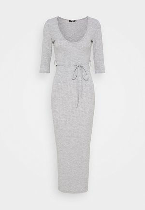MID SLEEVE TIE BELT MIDI DRESS - Denní šaty - grey