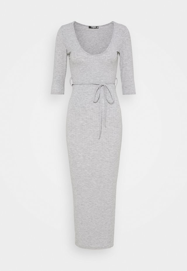 MID SLEEVE TIE BELT MIDI DRESS - Vestito estivo - grey