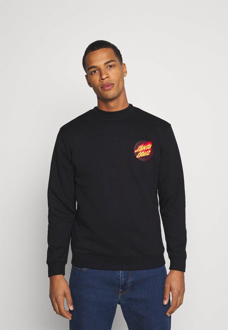Santa Cruz - FLAMING JAPANESE DOT CREW UNISEX - Sweatshirt - black